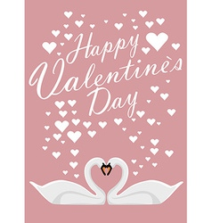 Valentines day background with two loving swans vector image