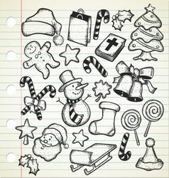 big set of christmas doodles vector image vector image