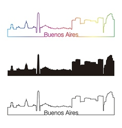 Buenos Aires skyline linear style with rainbow vector image