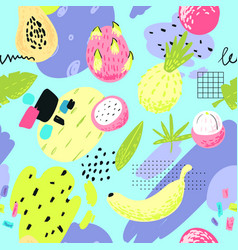 hand drawn seamless pattern with tropical fruits vector image vector image