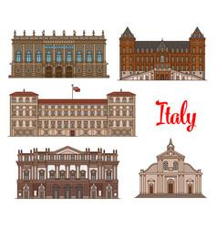 italian tourist sights icon set for travel design vector image