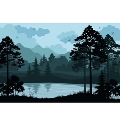Mountains Trees and River vector image vector image