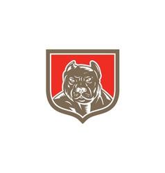 Pitbull Dog Mongrel Head Shield Woodcut vector image vector image