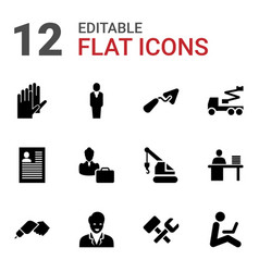 12 worker icons vector