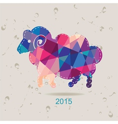 2015 new year card with sheep made of triangles vector