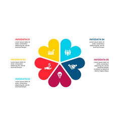 abstract flat elements cycle diagram with 5 vector image