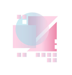 Abstract gradient geometric forms in blue pink vector