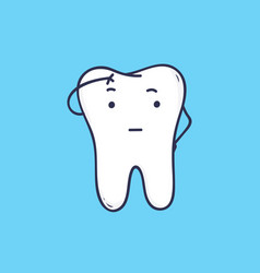 adorable thoughtful tooth cute thinking mascot or vector image