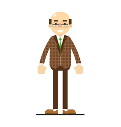 Adult bald man in brown suit and tie vector