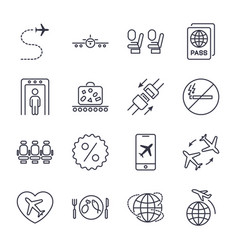 airplane and airport icons set on the white vector image
