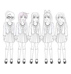 Anime manga girls vector