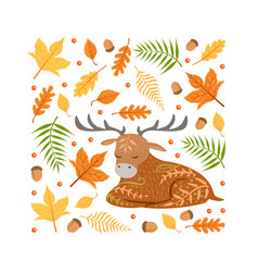 autumn forest seamless pattern square shape vector image