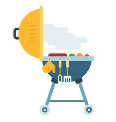 Backyard grill with food and appliance icon flat vector