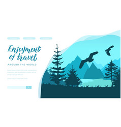 Big birds hover under water surface and forest vector