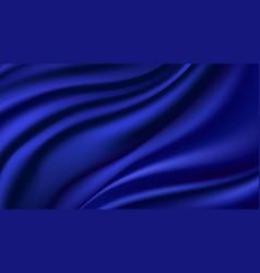 Blue silk wavy background smooth shiny satin vector
