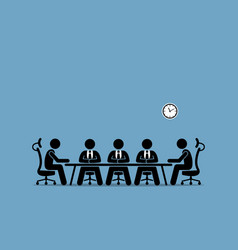 Brainstorming and discussion among businessman vector