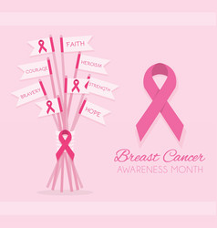 Breast cancer awareness month pink ribbon flags vector