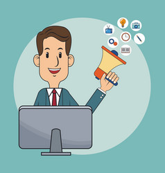 Businessman using digital marketing vector