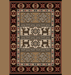 Carpet with stylized ornament in brown and beige vector