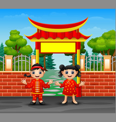 cartoon chinese kids in outdoors vector image