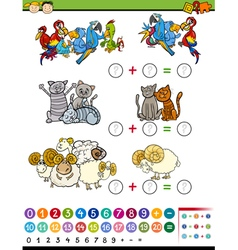 Cartoon education math game vector