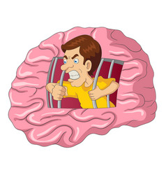 cartoon of a man breaking free from brain vector image