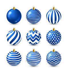 christmas tree shiny blue balls set new year vector image
