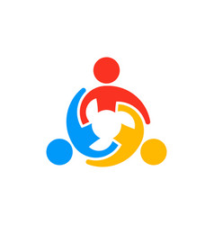 Collaborating teamwork people logo vector