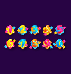 colorful cartoon number set for children from zero vector image