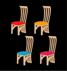 Colorful dining chairs on a black background vector image
