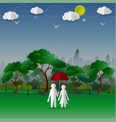 Concept of couple in the city park with town vector
