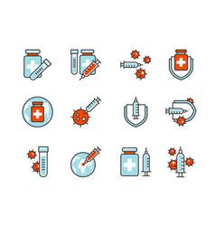 covid19-19 vaccine icon set colorline style sign vector image