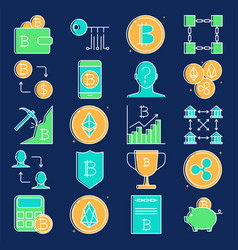 cryptocurrency transactions icon set in line style vector image