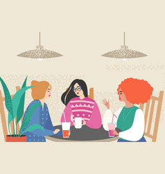 cute girls siting in a cafe vector image