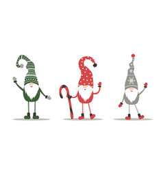 cute gnomes in red santa hats on white background vector image