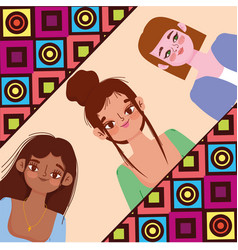 diversity women cartoon with different styles vector image