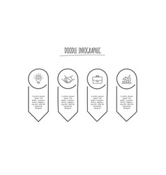 doodle infographic elements with 4 options hand vector image