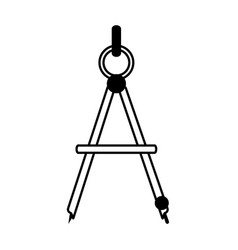 Drawing compass office supplies related icon image vector