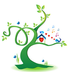 eco-friendly tree with love birds vector image