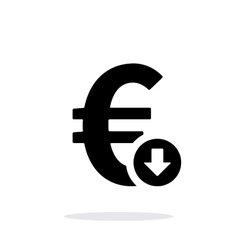 Euro exchange rate down icon on white background vector image