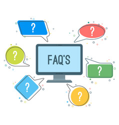 Faq service minimalistic icons with question marks vector