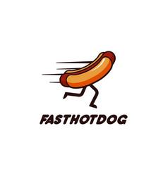 fast hotdog running hotdog mascot logo vector image
