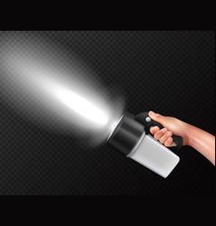 Flashlight in hand realistic vector