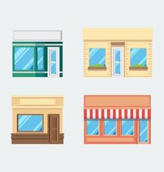 Flat design of front shop set vector image