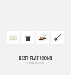Flat icon garden set of shovel pail wooden vector