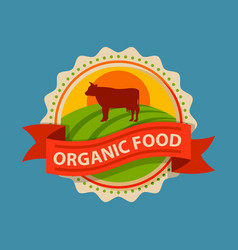 flat style of bio organic eco healthy food label vector image