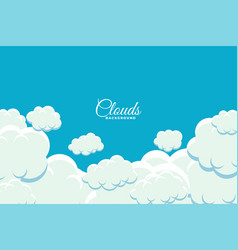 Fluffy clouds floating in sky background design vector