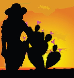Girl silhouette in desert with cactus part one vector