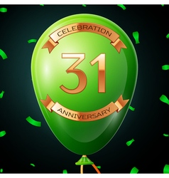 Green balloon with golden inscription thirty one vector