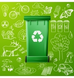 Green Recycle Bin and Ecology doodle icons vector image